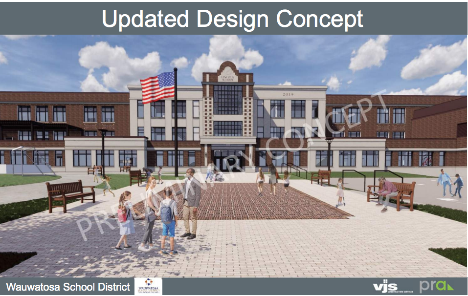 Updated exterior design for new Lincoln Elementary School presented to School Board following Design Review Board feedback