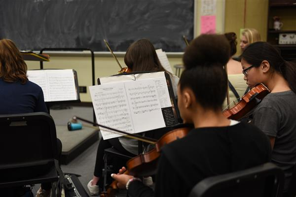 East High School orchestra students